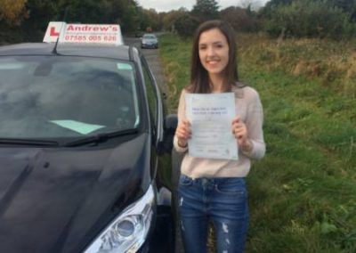 Emily from Llandudno Junction Passed First time at Bangor on November 2nd 2016