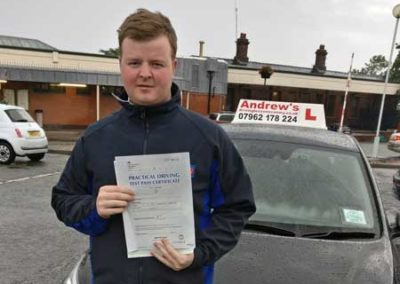 Lee Jones passed driving test first time 19th July 2017