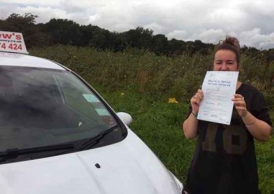 Lindsey Hughes from Penmaenmawr North Wales passed the driving test in Bangor on 26th September 2016
