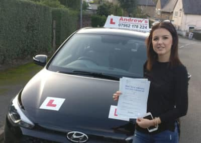 Mickaela from Penmaenmawr passed first time 30th October 2017.