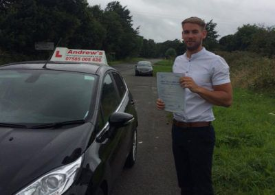 Phil Evans from Old Colwyn passed driving test first time  in Bangor 10th August 2016