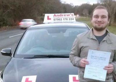 Sean from Llandudno passed first time in Bangor 14th December 2016
