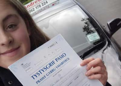 Sian Teleri Jones passed first time in Bangor 18th October 2017.