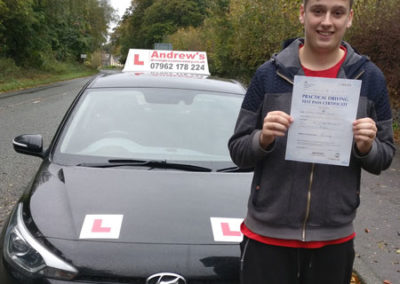 William Howard from Glan Conwy passed first time 24th October 2017