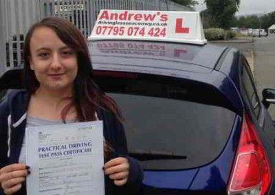 Zoe Jones Old Colwyn Passed driving test in Bangor 27th July 2015