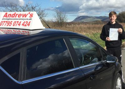 Tom Williams from Llandudno Junction passed his driving test first time