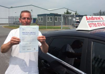 Mark Deacon from Llandudno Junction , Passed first time at Bangor on  9th June 2016