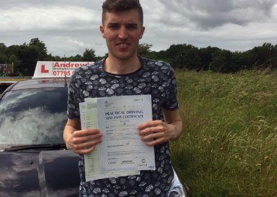 Matt Dickenson from Penrhyn Bay, passed first time  at Bangor, with no minors on 27th June 2016.