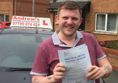 chris jones  from Abergele Passed first time at Rhyl  on 15th July 2016