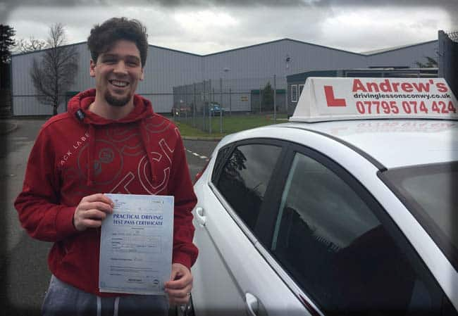 Mike Hughes from Conwy outside Bangor Driving Test Centre in North Wales