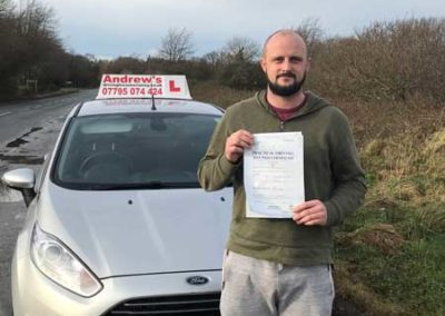Ash Switzer passed first time 12th December 2017.