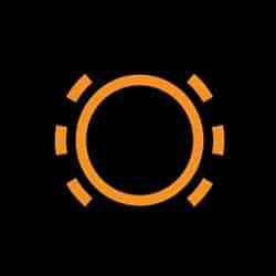 Car dashboard brake warning light