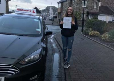 Bronwen Richardson passed driving test in Bangor 20th January 2018
