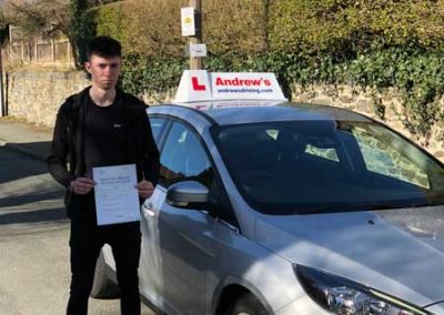 James Hennessy passed driving test in Bangor 13th March 2018.