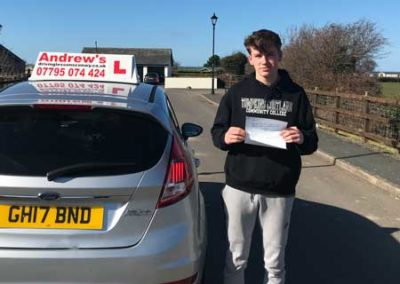Lennon Hughes passed  first time in Rhyl 19th March 2018