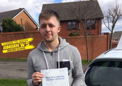 Will Ward from Denbigh passed driving test in Rhyl North Wales 13th March 2018.