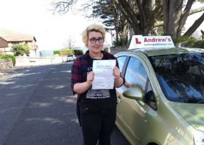 Ffion Owen passed driving test in Rhyl 26th April 2018.