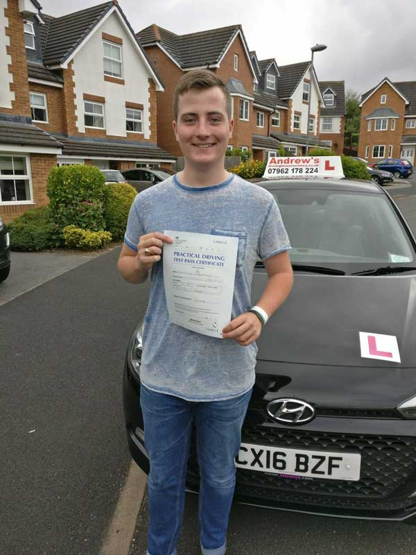 Edward Warner from Deganwy after passing driving test