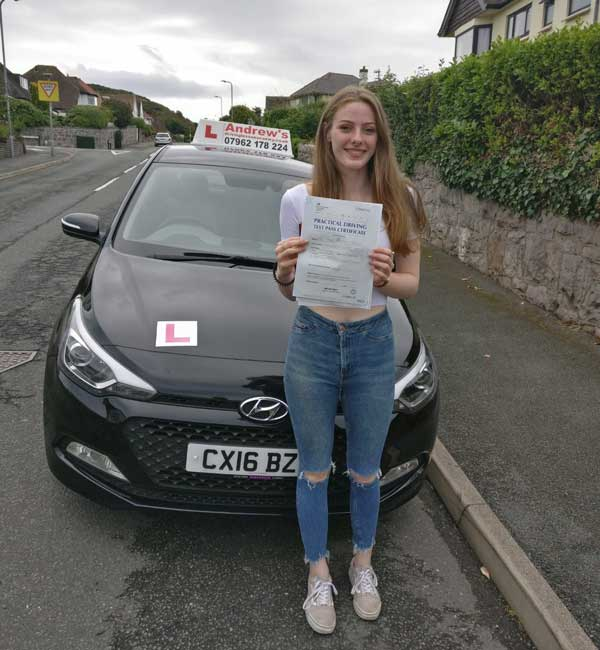 Isabel in Llandudno after her course of driving lessons