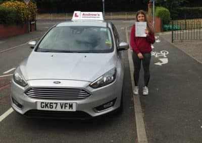 Lourdes Jones passed driving test first time in Bangor on 12th July 2018.