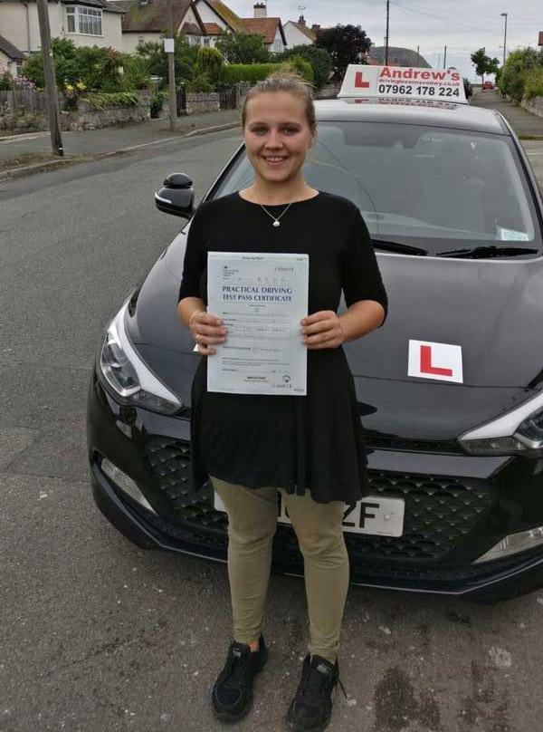 Cassandra in Bangor after driving test