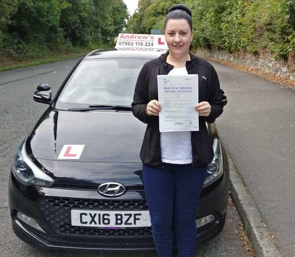 Laura took her driving lessons in Llanfairfechan
