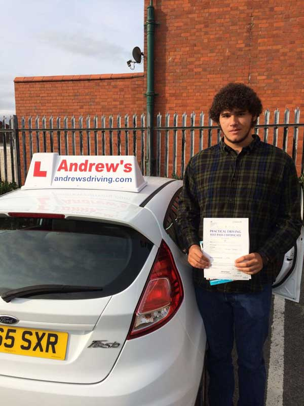 Nicholas at Rhyl driving test centre, Nicholas passed after taking driving lessons in Rhyl