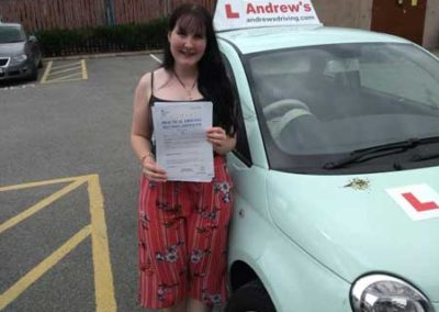 Rhian Porter passed the driving test first time in Rhyl 8th August 2018.