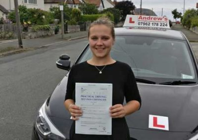 Cassandra Kenworthy passed first time in Bangor 23rd August 2018.