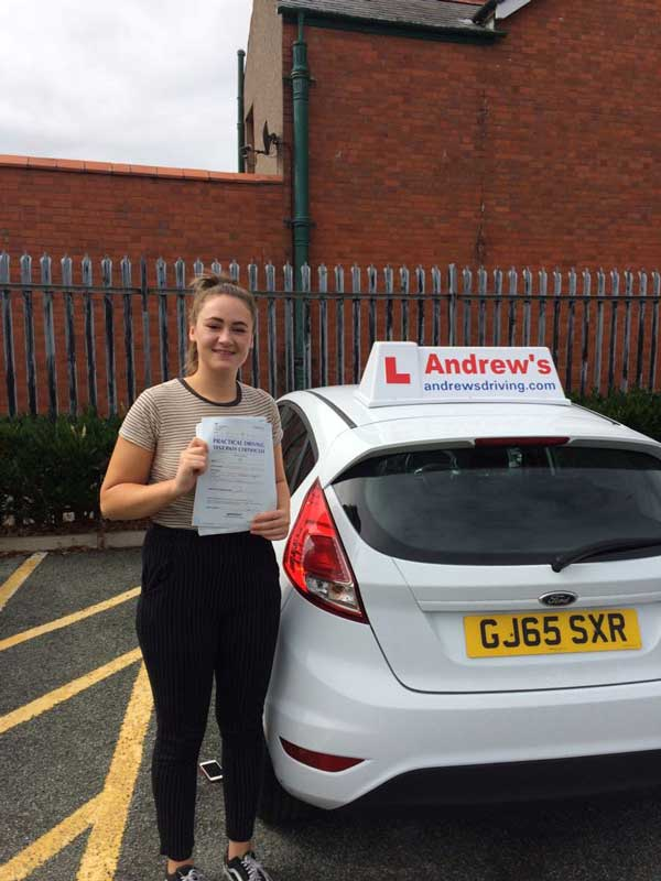 Caitlin in Rhyl Driving Test Centre after passing her driving test