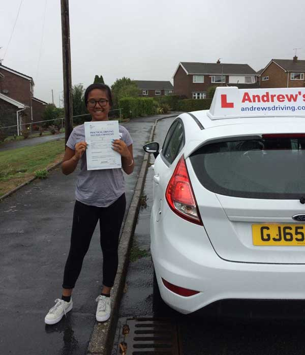 Danice passed her driving test in Rhyl