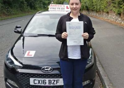 Laura Williams passed first time Iin Bangor 30th August 2018.