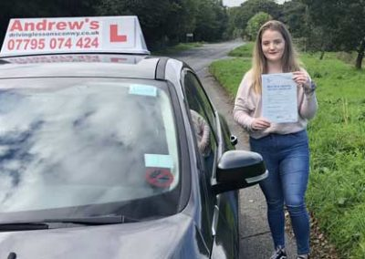 Lauryn Ashe passed first time at Bangor 26th September 2018.