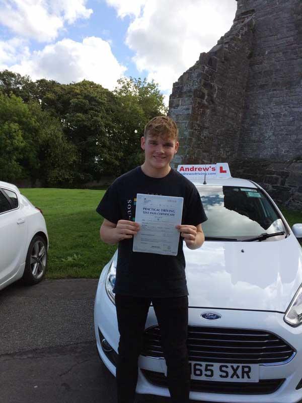 Luke Bowen took his driving test in Rhyl