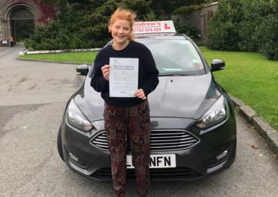 Olivia Clark from Rhos on Sea passed her driving test in Bangor 18th September 2018.