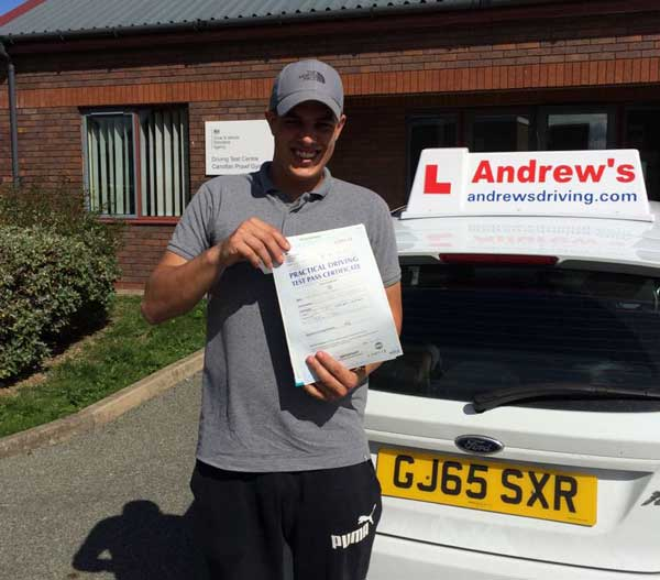 Remi passed his driving test in Rhyl