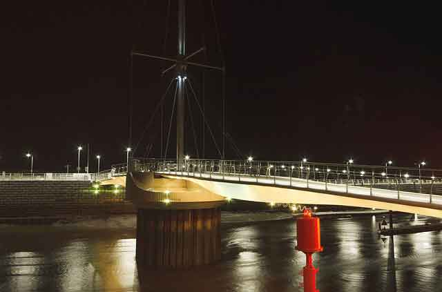 Rhyl harbour at night