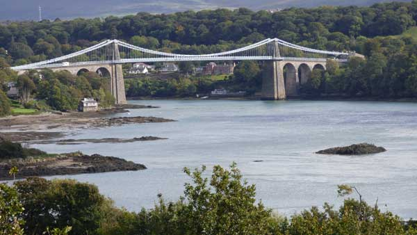 Menai bridge viewed from Anglesey looking towards Bangor.