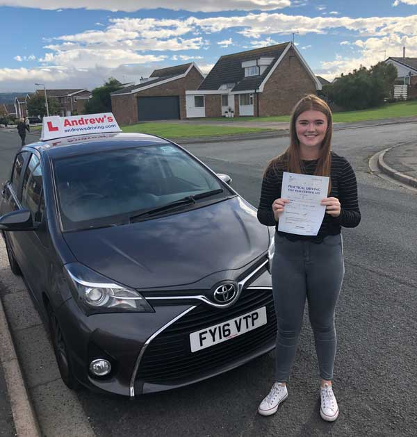 Georgia in Penrhyn Bay after her course of driving lessons