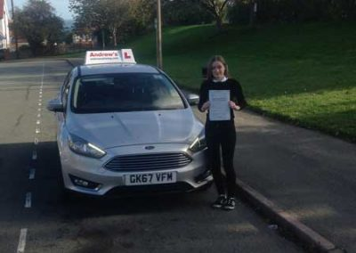 Megan Williams passed first time in Bangor 22nd October 2018.