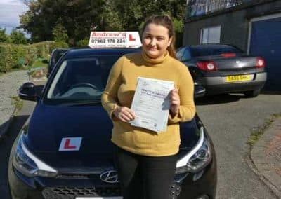 Niamh Drury passed first time in Bangor 4th October 2018.