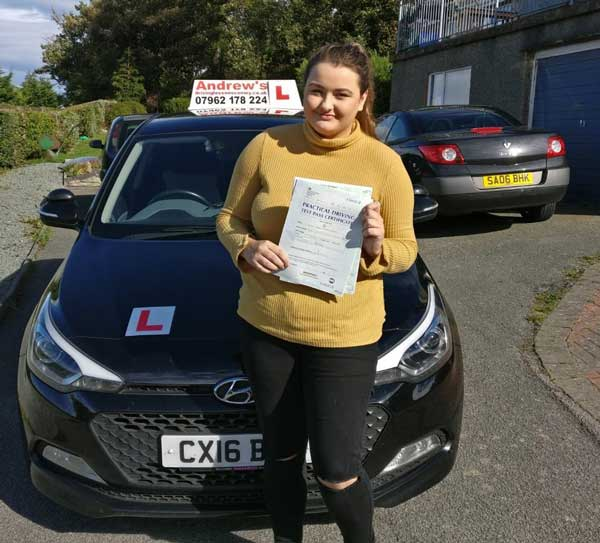 Niamh in Dwgyfylchi after passing her driving test.