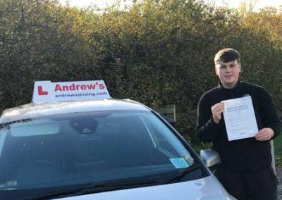 Mathew Davies from Pensarn passed at Rhyl today 12th November 2018.