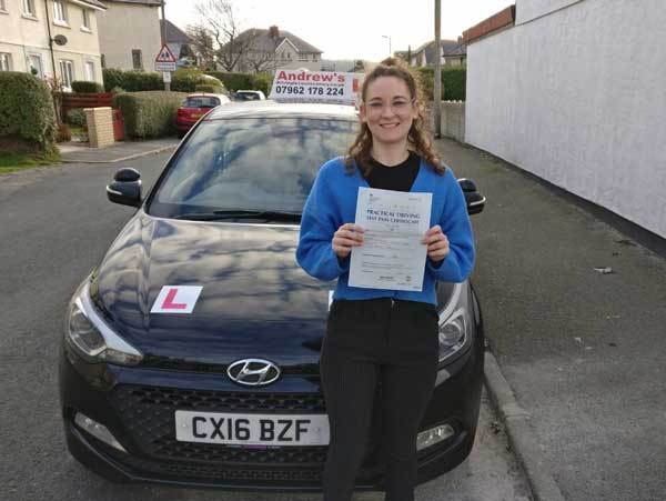 Victoria in Deganwy after driving test