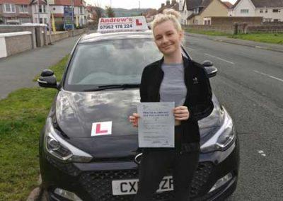 Maddie Lancaster from Llandudno passed first time at Bangor 5th November 2018.