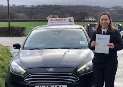 Alicia Edwards from Colwyn Bay passed the driving test in Bangor 22nd January 2019.