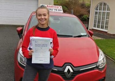 Amy Parry from Glan Conwy passed first time 24th January 2019.