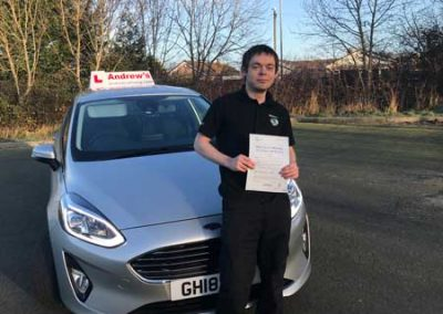 Brad Vicars Harris passed first time at Rhyl January 2nd 2019.