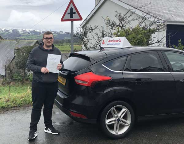 Cai in Trefriw after passing his driving test