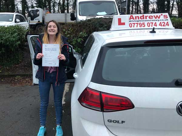 Hope from Colwyn Bay passed at Bangor driving test centre